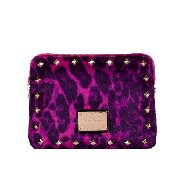 Faux Fur Leopard Clutch Bag