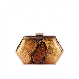 Hexagonal Pearlescent Box Clutch