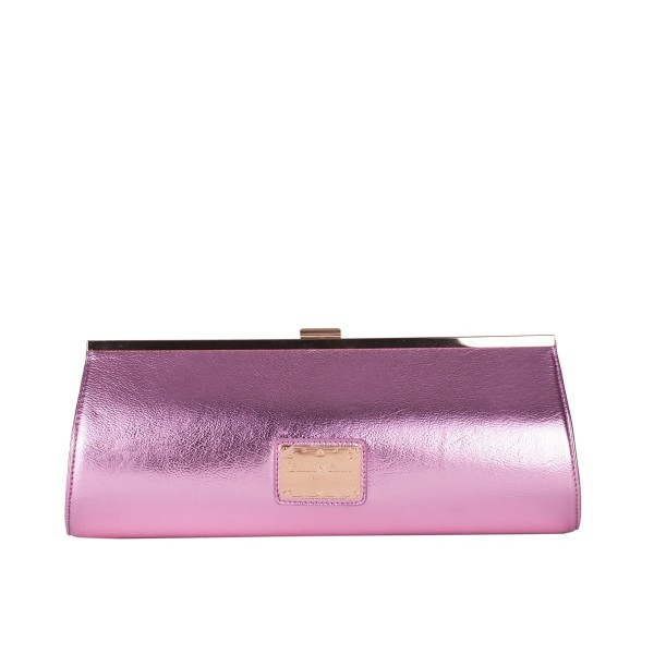 Gold Trim Metallic Clutch Bag