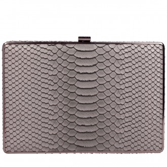 Square Snake Effect Print Clasp Clutch