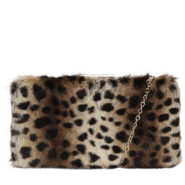 Faux Fur Clutch Bag & Chain