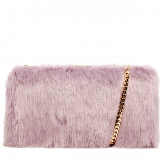 Faux Fur Hard Case Clutch