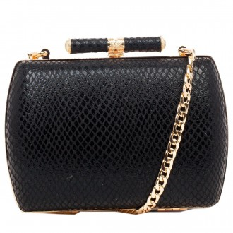 Snake Effect Hardcase Clasp Top Clutch