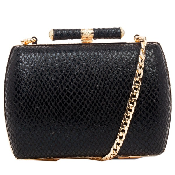 Metallic Snake Clutch Bag & Chain