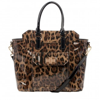 Patent Effect Leopard Print Tote Style