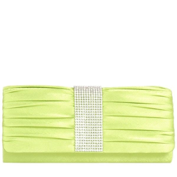 Pleated Satin Diamante Clutch Bag