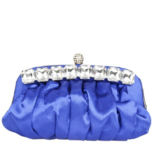 Jewel Clasp Satin Occasion Bag