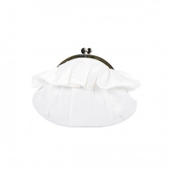 Small Ruffle Trimmed Clasp Clutch Bag - Ivory - Front