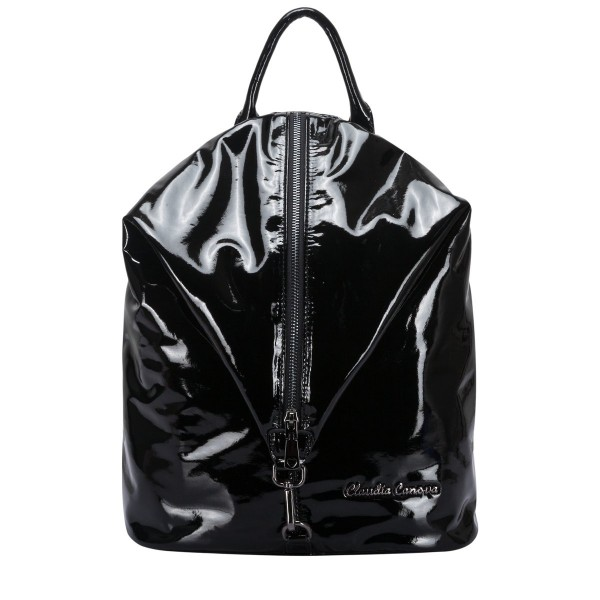 Black Pvc Look Vertical Zipped Backpack