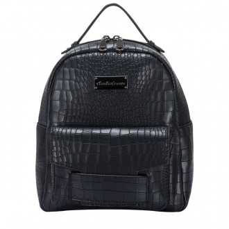 Black Croc Print Zipped Pocketed Bkpk