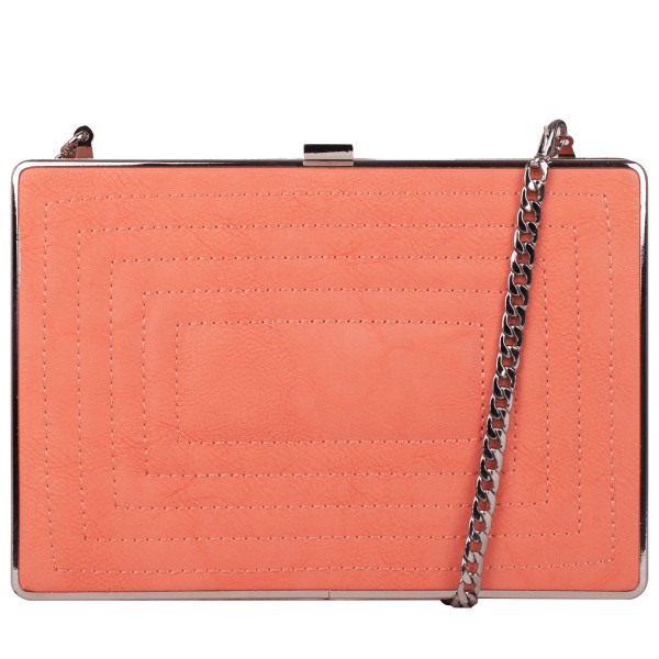Peach Stitch Detailed Clutch Bag