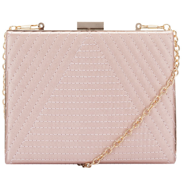 Metal Trim Pink Clutch & Chain