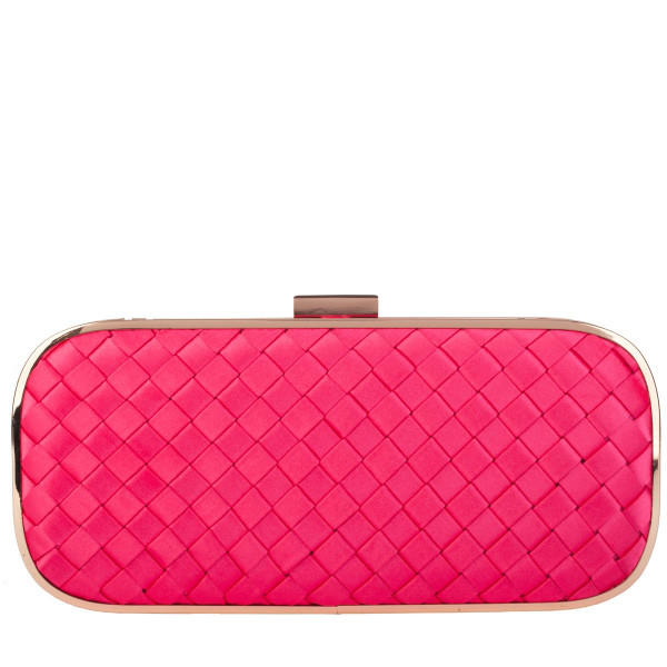 Box Pleated Satin Clutch Bag & Chain