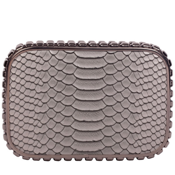 Snake Print Stud Trim Clutch Bag