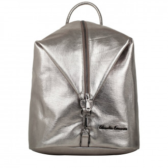 Backpack Metallic Fabric Vertical Zip