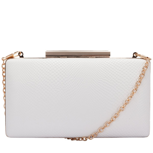 Oblong White/gold Clasp Top Clutch
