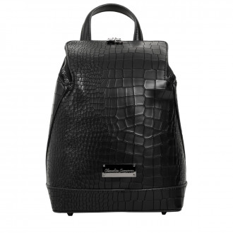 BACKPACK CROC PRINT SLOPED ZIP FASTENING