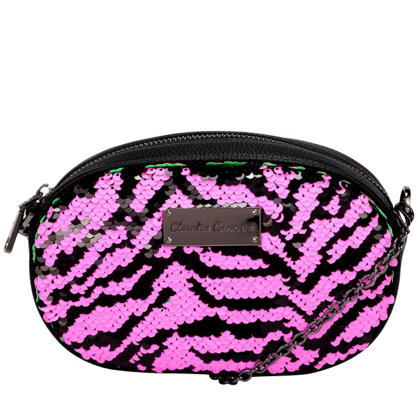 Emi Oval Shaped Zip Top Sequin Belt Bag