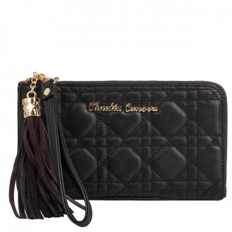 Small Zip Top Tassled Clutch