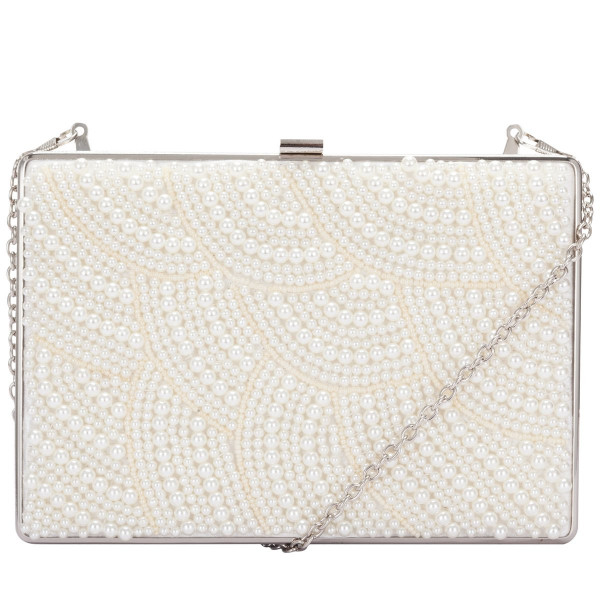 Beaded Bridal Clutch Bag With Chain