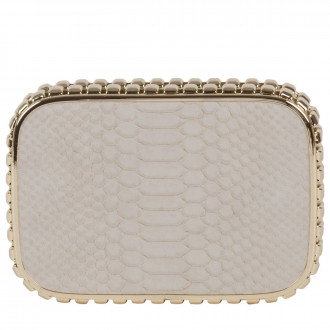 Snake Embossed Hard Case Clutch