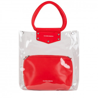Twin Strap Clear Grab With Zipped Pouch