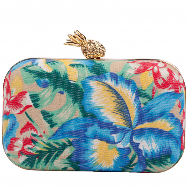 Floral Print Clasp Top Clutch