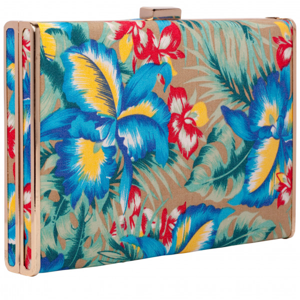 Floral Print Square Clasp Top Clutch