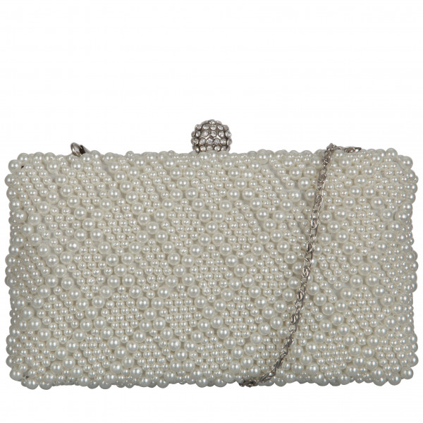 Faux Pearl Diamante Bridal Clutch Bag