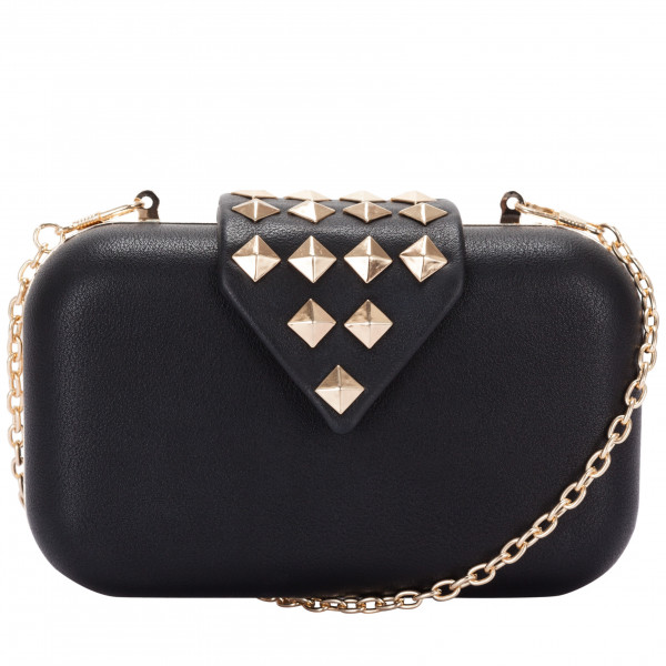 Stud Detailed Flapover Clasp Top Clutch